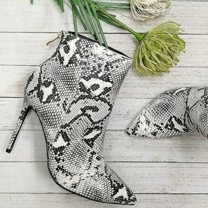 New Snake Point Toe Stiletto Ankle Booties Boot